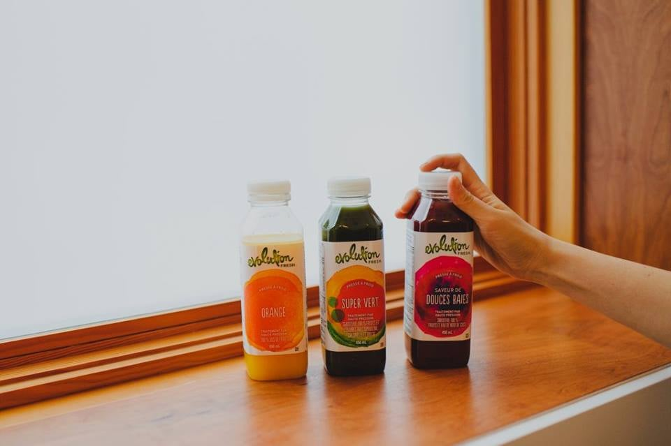 Evolution Fresh juices, $4.98 to $5.95. (Sweet Greens & Lemon no pictured)