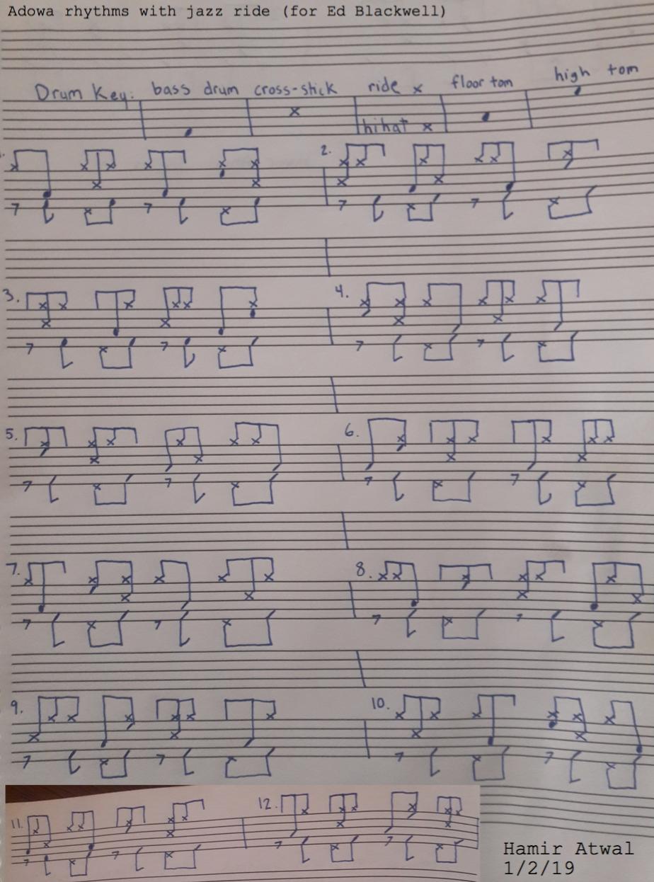 African Rhythms - Adowa rhythms to jazz ride.(For Eddie Blackwell and Royal Hartigan)