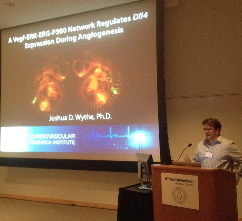 Giving a talk at the 2015 Southwest Society for Developmental Biology Regional Meeting.