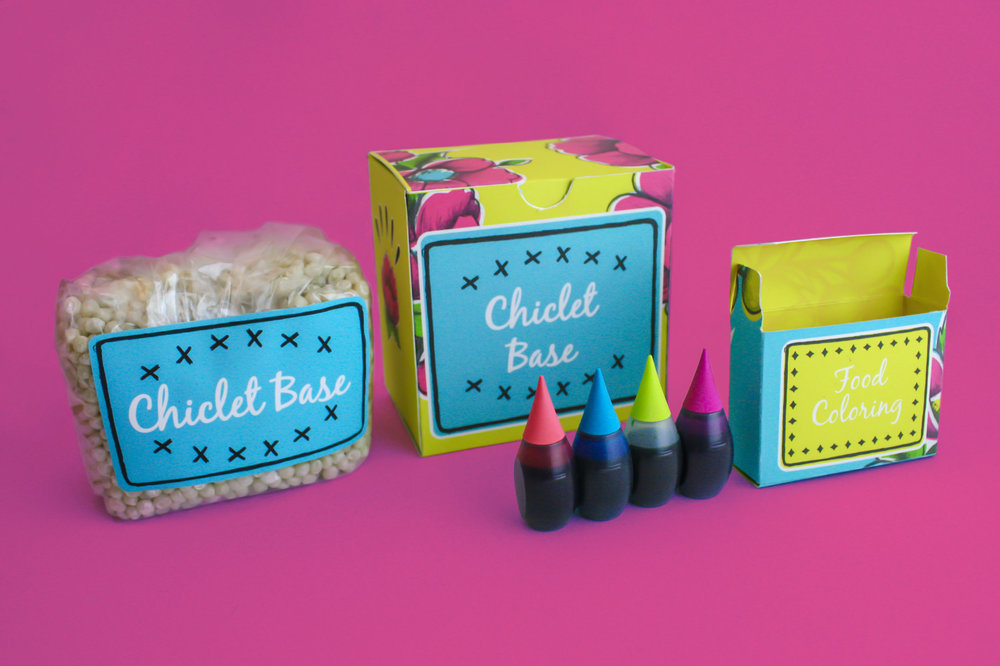 CHICLE ART KIT ITEMS INCLUDES THE CHICLE BASE, FOOD COLORING, AND JARS TO MELT THE CHICLE