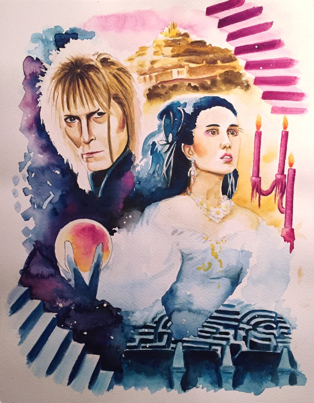 Commissioned Piece Inspired by the movie Labyinth  Watercolor on Watercolor Paper