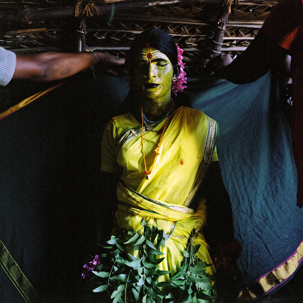 Jagada Guru, a kothi from Devanapattinam, prepares to play the goddess Amman in the Mayanakollai festival, which was put on in Devanapattinam by a group of people, which included several kothis. March 2013.