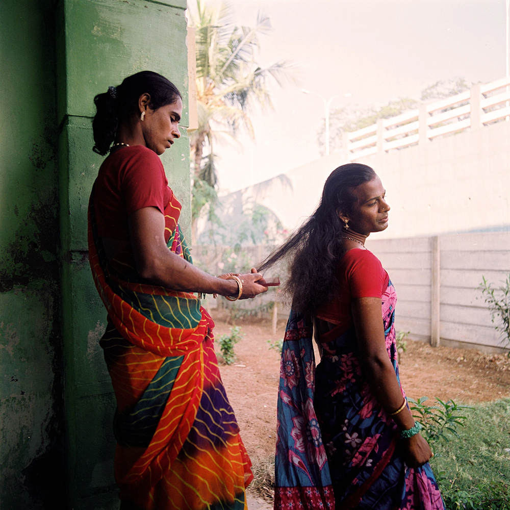 "Two daughters of Sheethal get ready for a function celebrating Sheethal's first birth  - day – marking one year after her gender-reassignment (""bottom"") surgery. Pondicherry, November 2013."