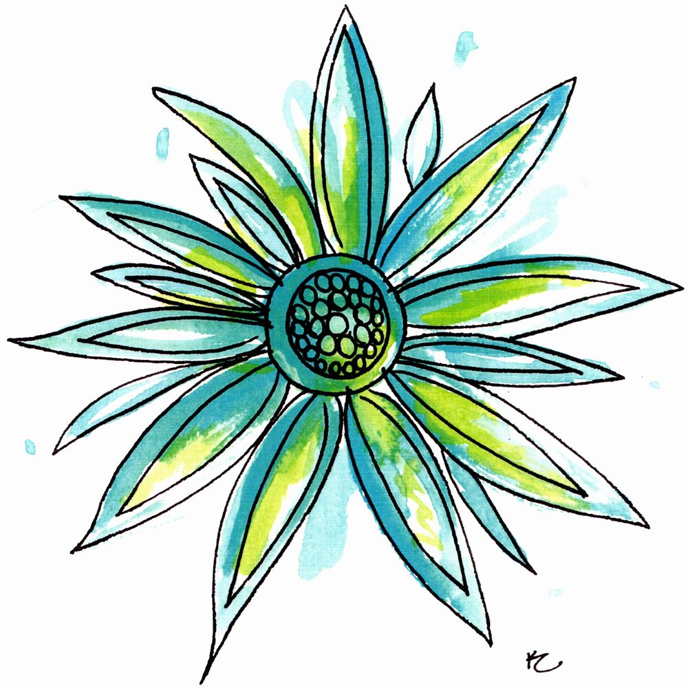 aqua and green flower21