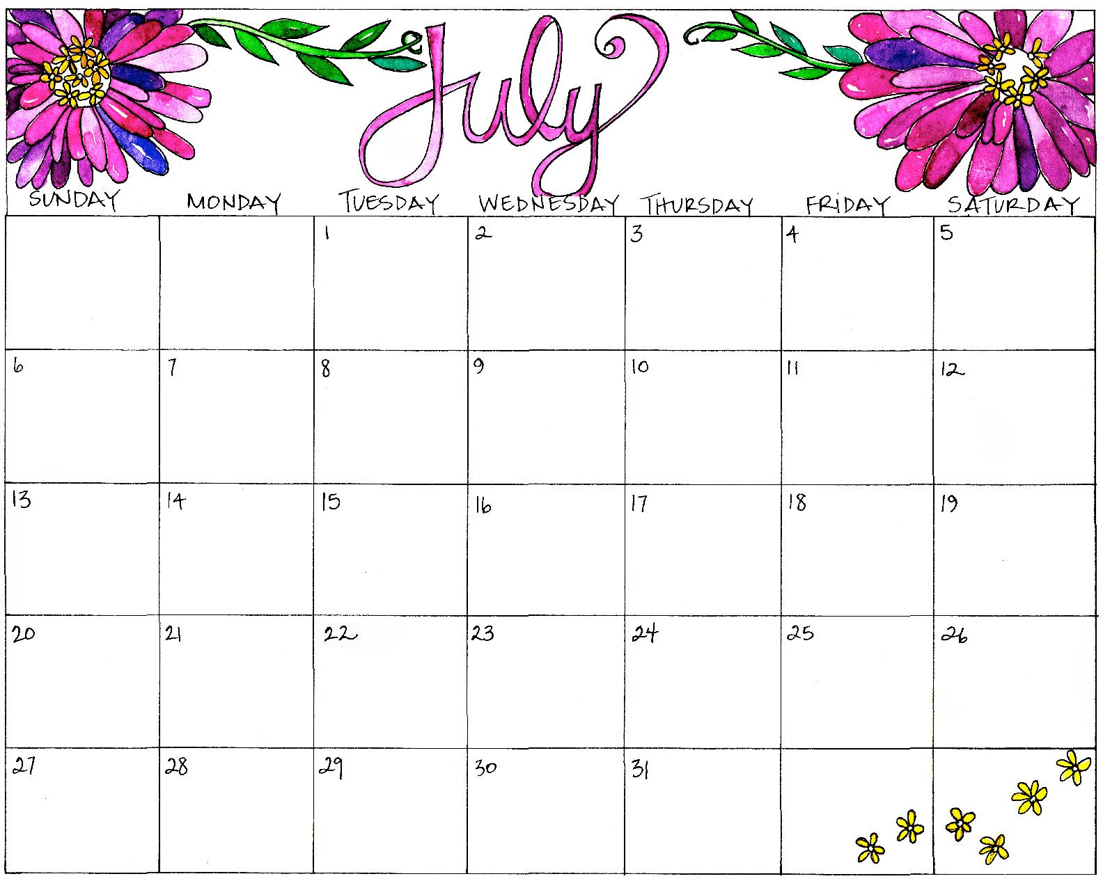 Butterfly + Bloom July Calendar