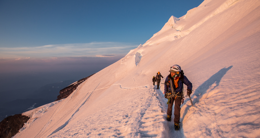Lakpa Rita leads high on summit day after daybreak.  Photo by: Luke Humphrey