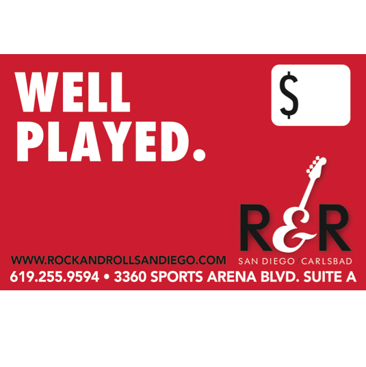 Our gift cards are may be used for lessons, rehearsal space, instruments, repairs and more. The perfect gift for musicians!