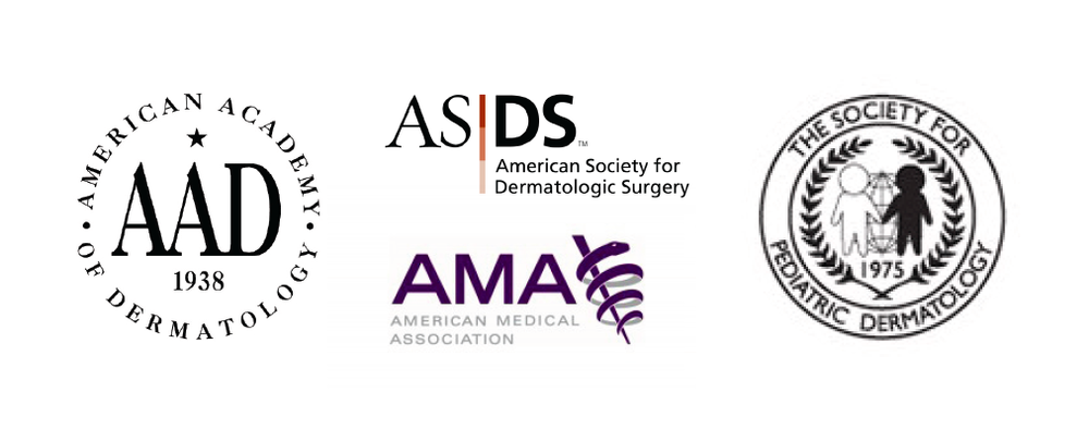 American Academy of Dermatology, American Society of Dermatologic Surgery, Society for Pediatric Dermatology, American Medical Association