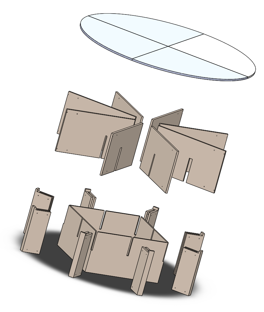 """SolidWorks mock-up of how the internal structure could potentially be assembled out of 3/4"""" Birch Plywood. The interior will be redesigned to accommodate rear projection and housing for the computer and speakers."""