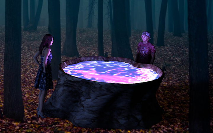 A   render of two festival goers interacting with the installation in the night time.