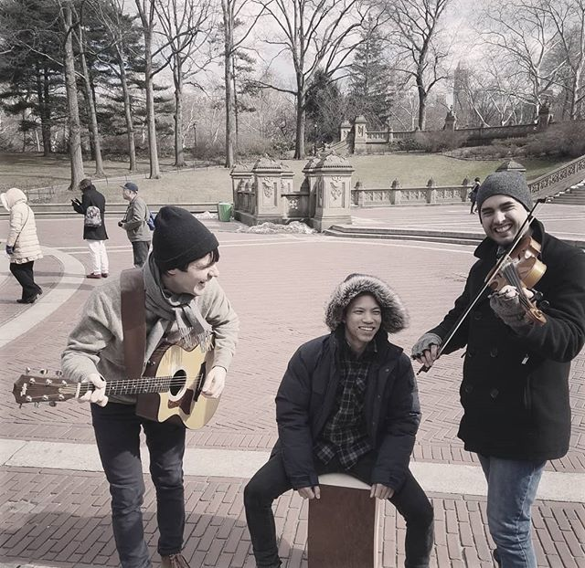 Even thru the cold 😰, we had a blast shooting a short film by @mishacalvert at Bethesda Fountain in Central Park. 🤘🎶🎻