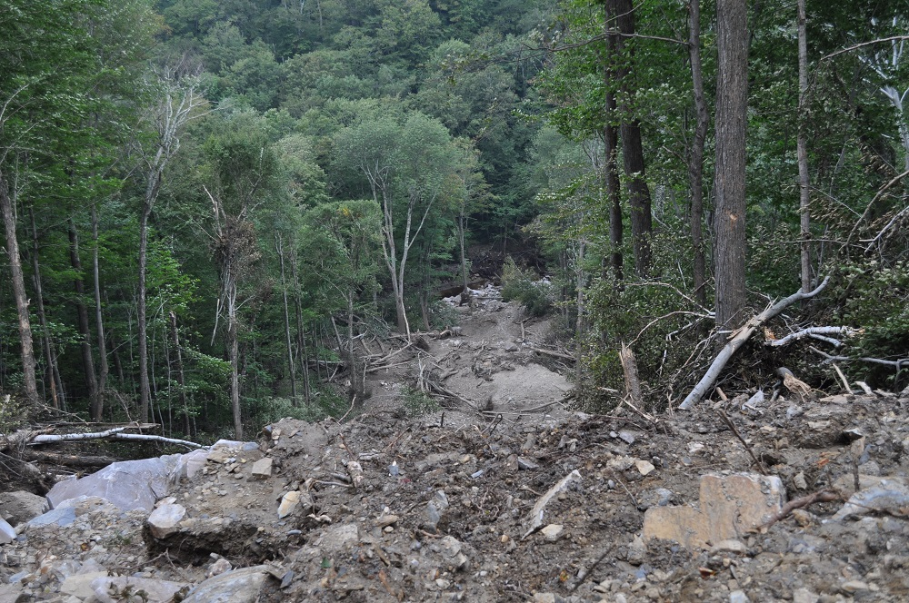 Landslide after Hurricane Irene - Lye Brook Falls Hike