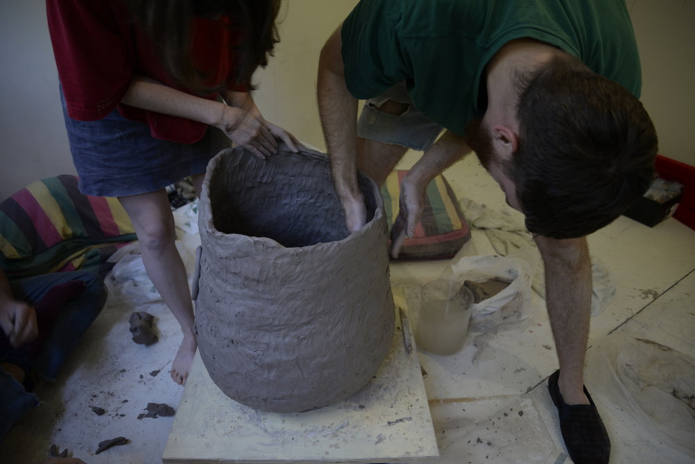 Vessel Construction Workshop , collaborative work with Bridie Gillman and Kylie Spear. Hosting workshops with 6 people attempting to build a clay vessel as a group.