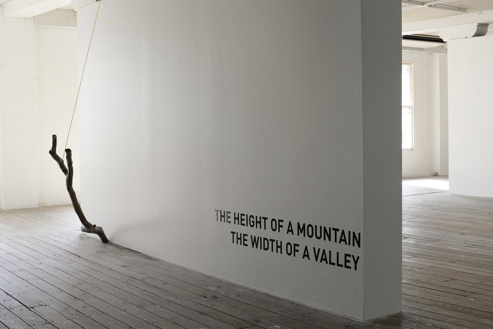 Installation of  The height of a Mountain, width of a valley exhibition at Metro Arts. Collaborative exhibition with Bridie Gillman and Kylie Spear based on residency in Taylors Arm (NSW).  Photograph by Bridie Gillman.