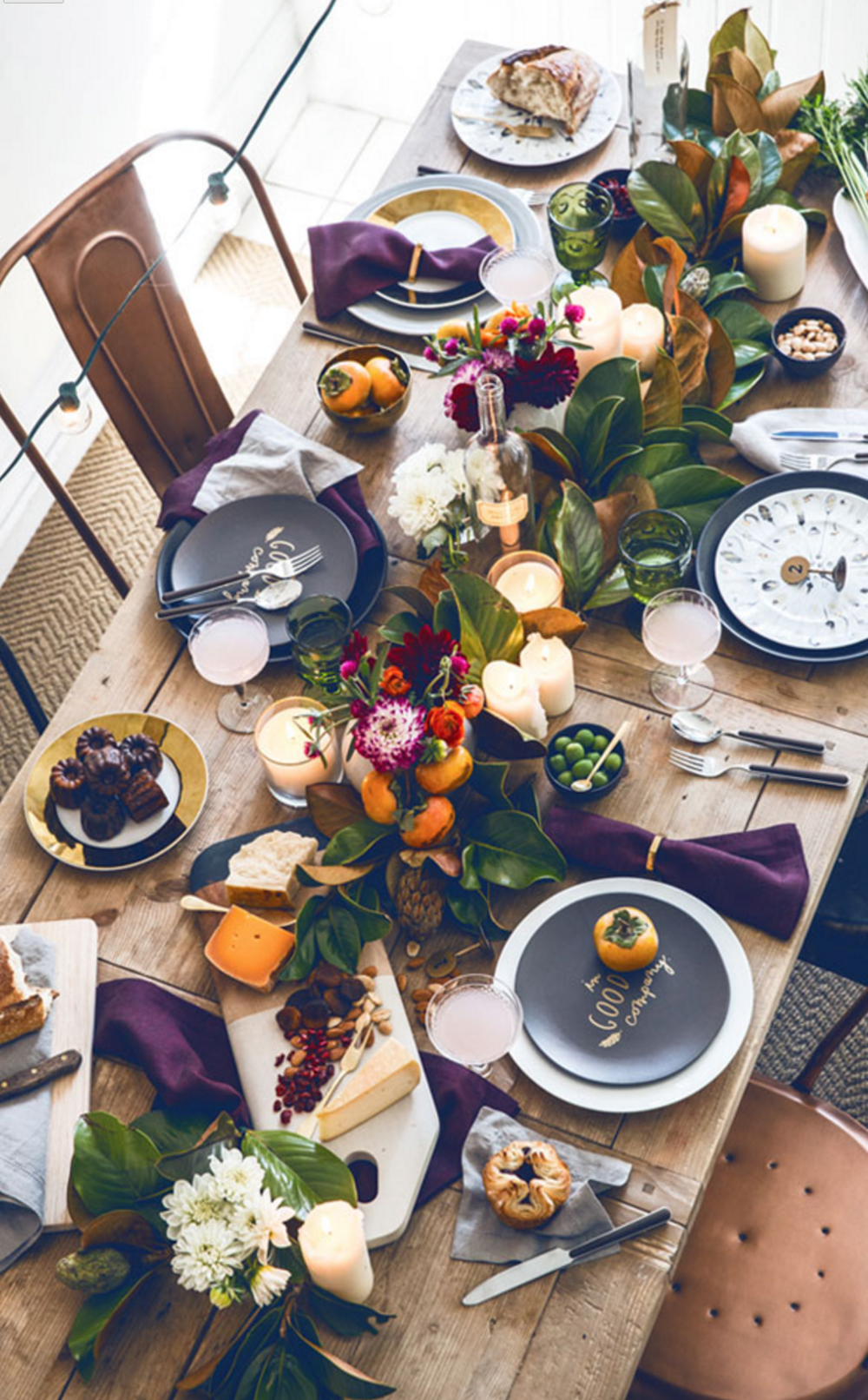 I think every holiday host I know has pinned this amazing purple laced table. It's the perfect amount of seasonal without going overboard.