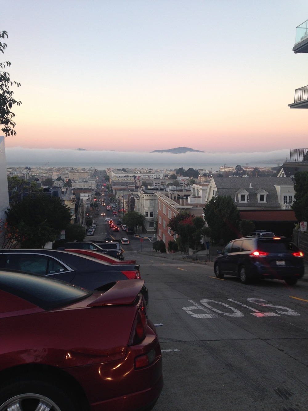 More fog. And killer views. Can you tell we were smitten? The view from the Fillmore Street Steps is one of the most spectacular but accessible views around.