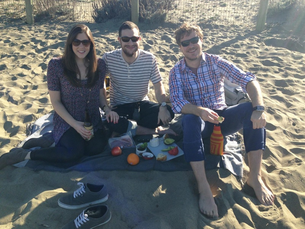 One of our good friend's from college visited us in January and of course we spent time picnicking and relaxing on the beach at Crissy Field.