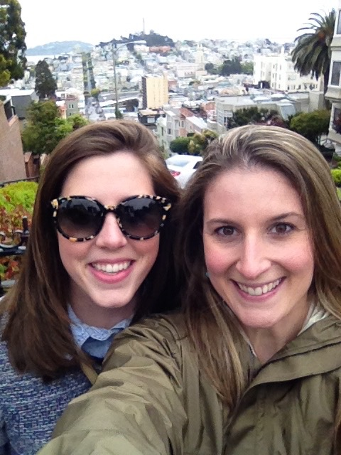 Here's the bachelorette! We're at the top of Lombard street - a must do for any tourist.