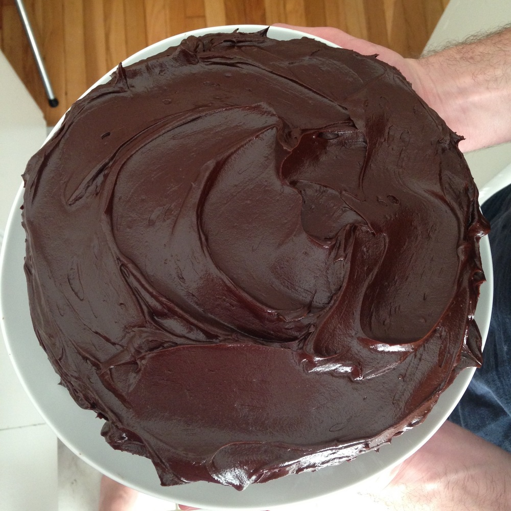 I made this tasty  butter cake  with  chocolate ganache frosting . Yum!