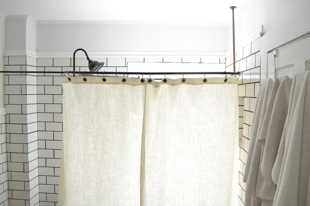 A DIY Clawfoot Tub Shower Curtain For Your Combo