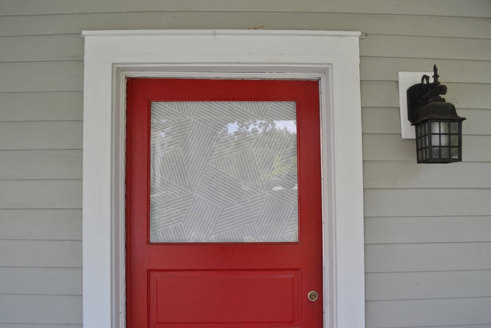Front Door Window Covering A Faux Roman Shade The White