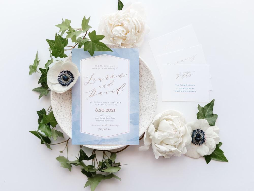 blue watercolor basic invite wedding invitation stationery suite white anemones white peonies ivy eucalyptus