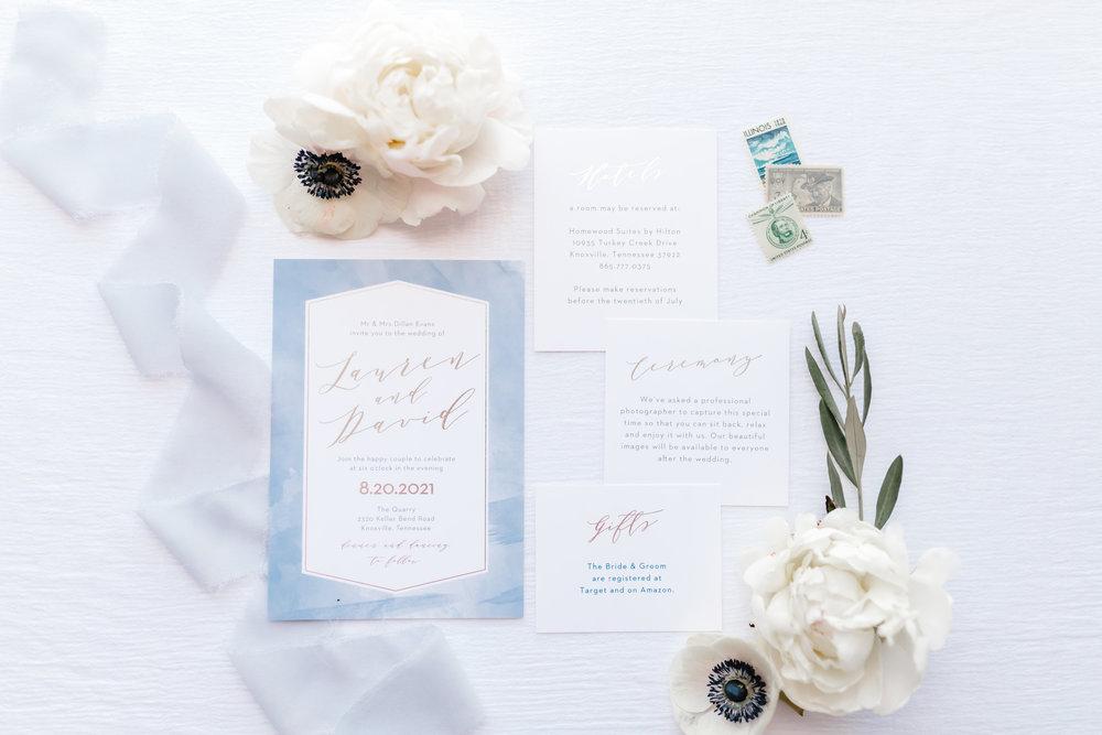 blue watercolor custom wedding stationery invitation suite white anemones white peonies ivy eucalyptus