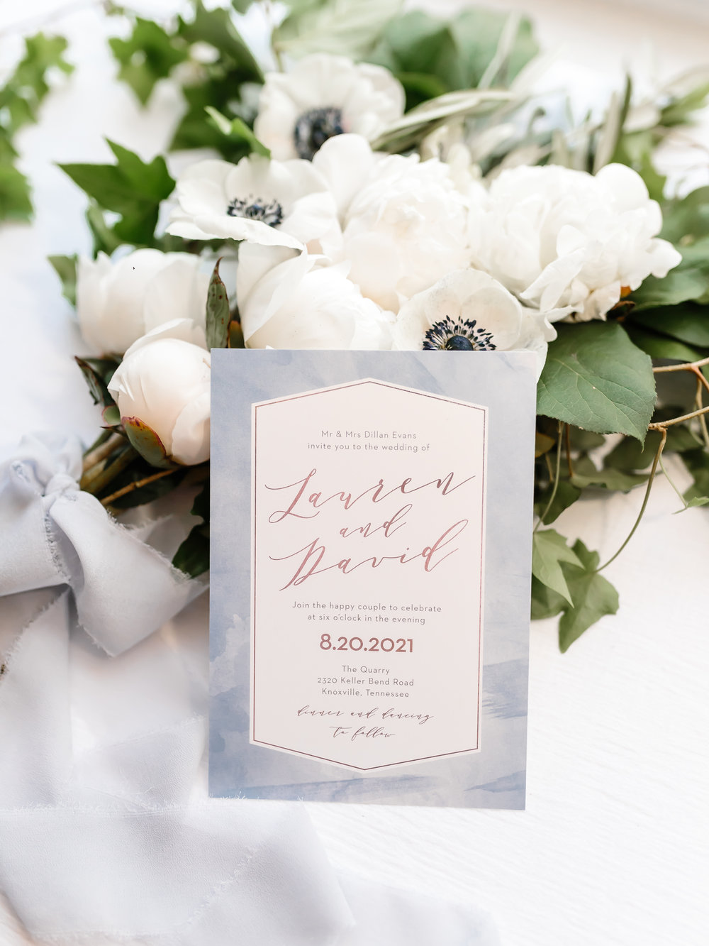 blue watercolor custom wedding invitation suite stationery white anemones white peonies white bouquet ivy lemon leaf