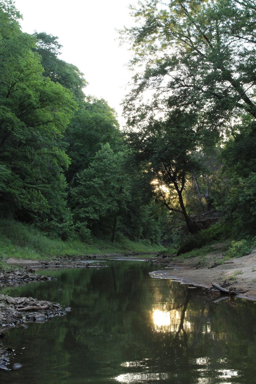 Perche Creek winding behind Breckenridge Park