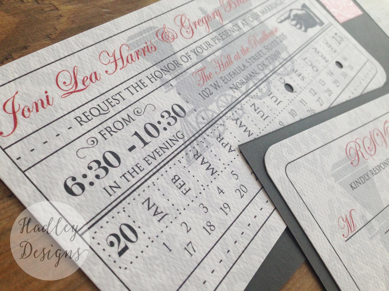 Hadley Designs Vintage Train Ticket Wedding Invitations