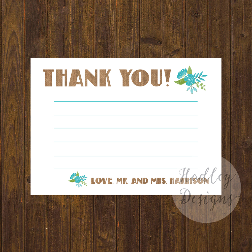 Burlap Wedding Thank You Cards