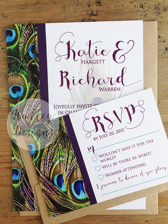hadley designs peacock wedding invitations, Wedding invitations