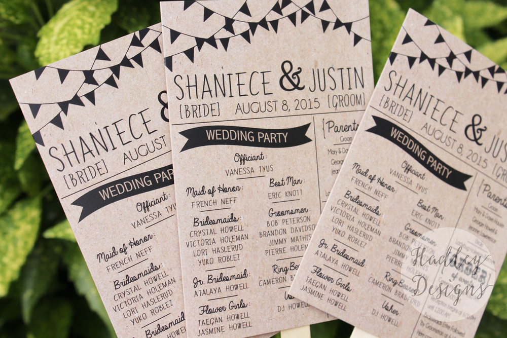Kraft Wedding Programs
