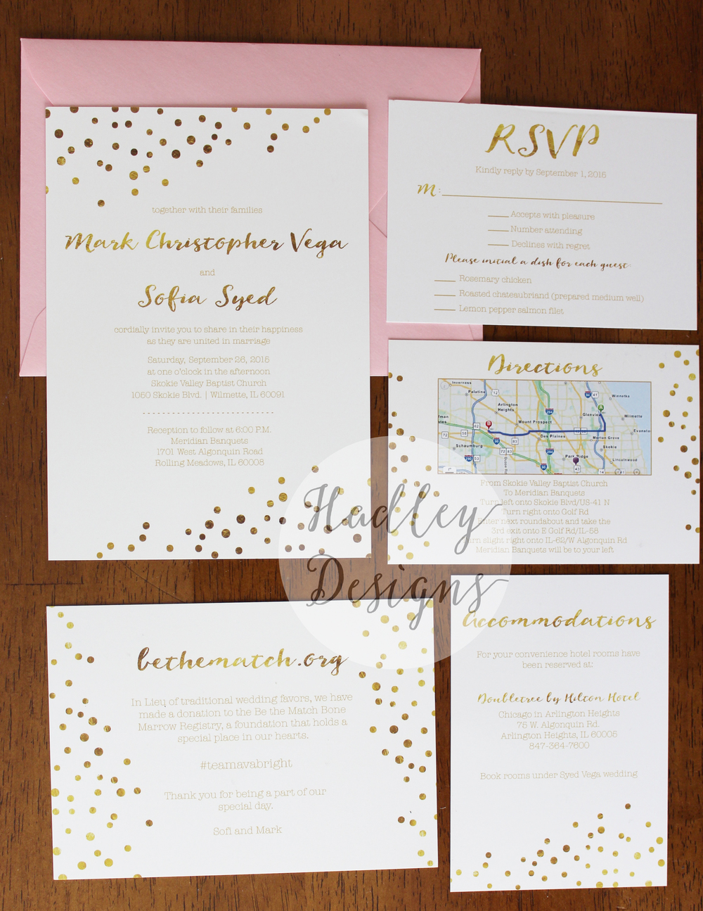 Hadley Designs Gold & Blush Wedding Invitations