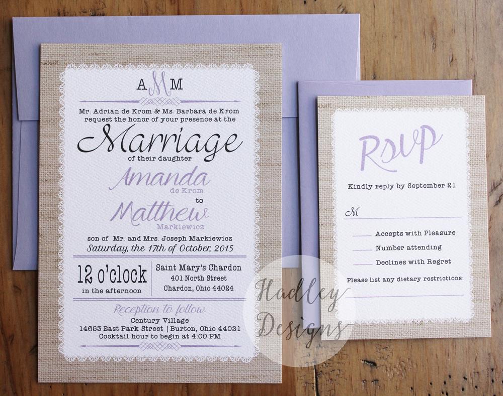 Hadley Designs Rustic Burlap and Lace Wedding Invitations