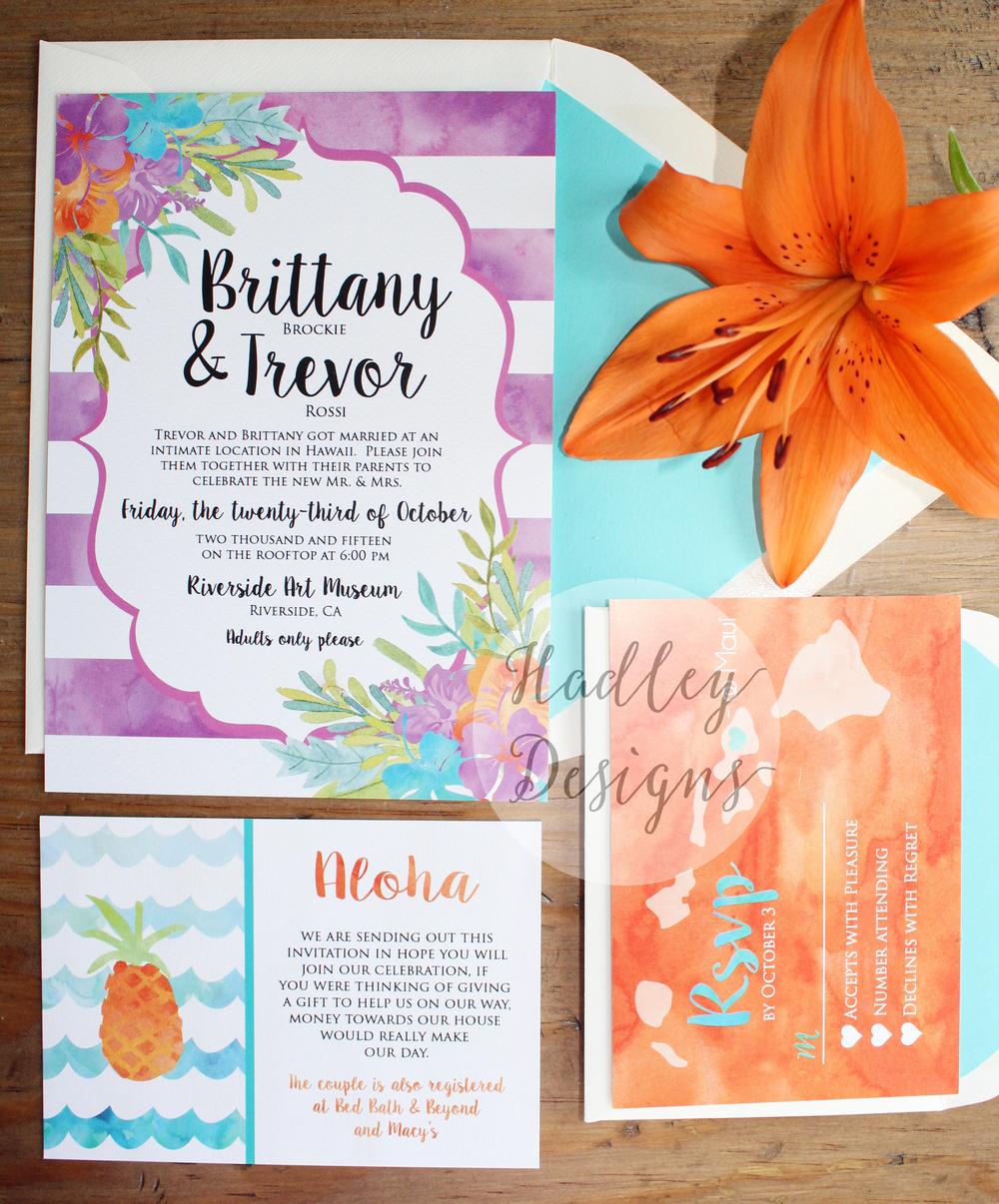 Hadley Designs Hawaiian Watercolor Wedding Invitations