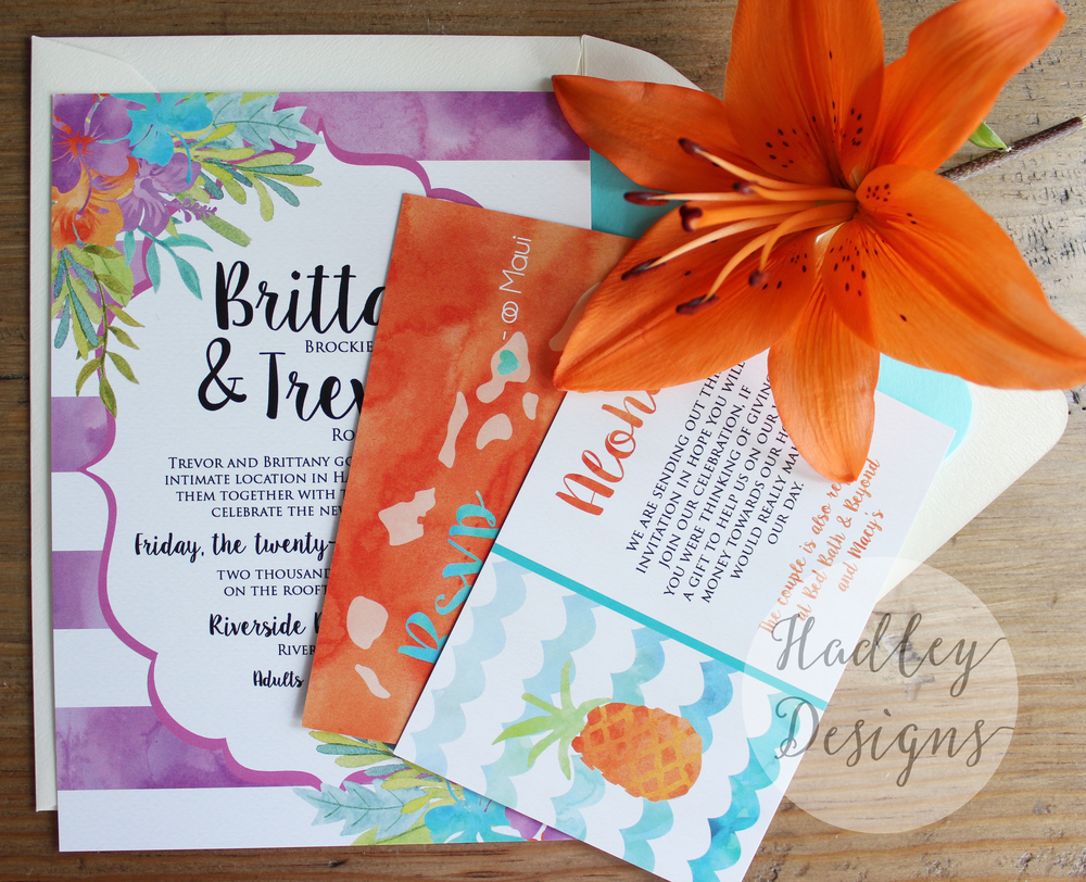 Hadley Designs Hawaiian Watercolor Wedding Invitations