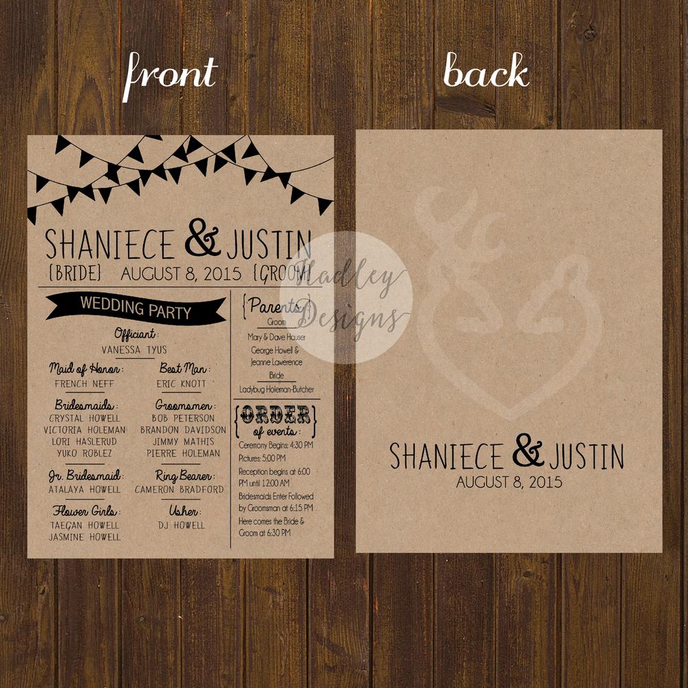 Hadley Designs Wedding Programs