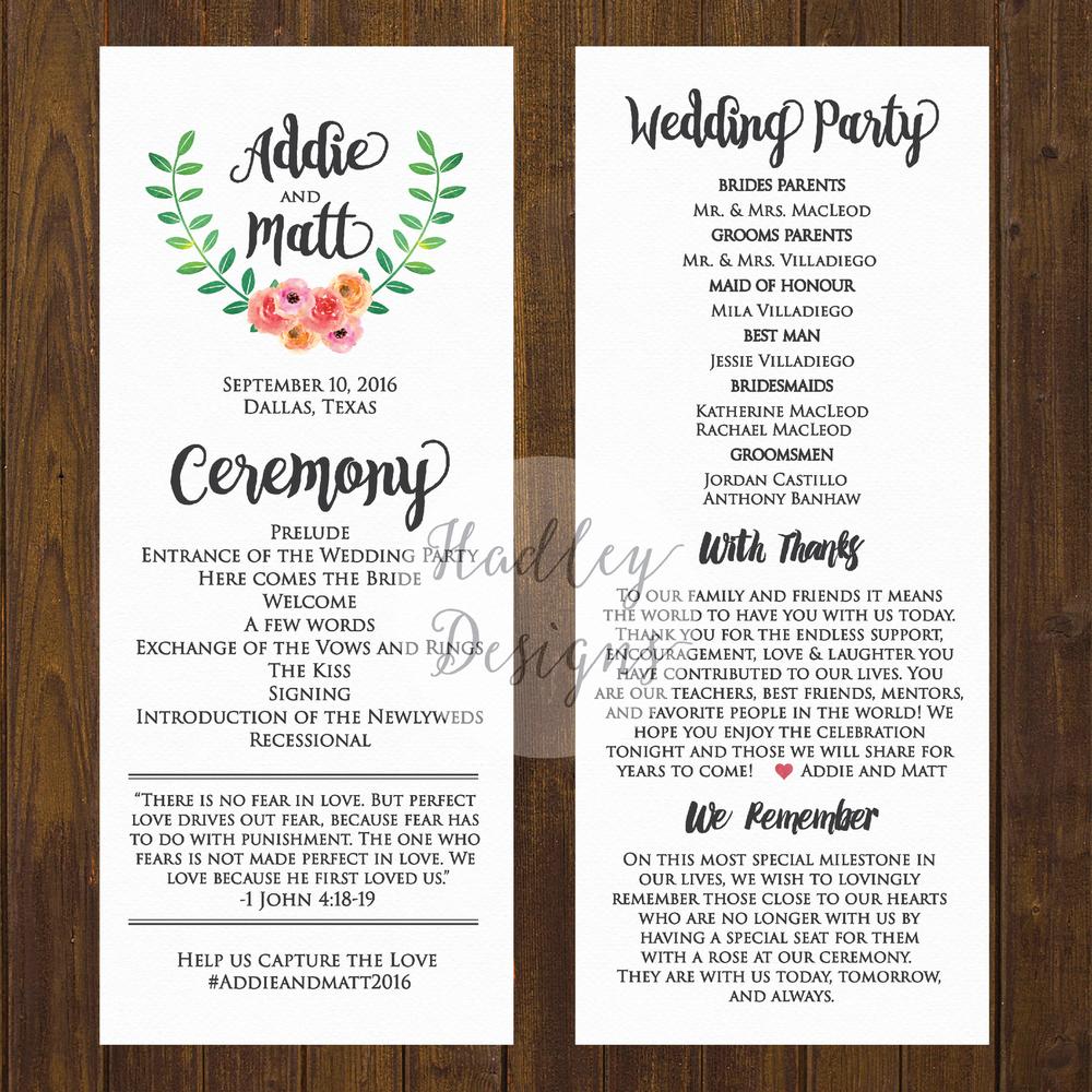 hadley designs wedding programs how to