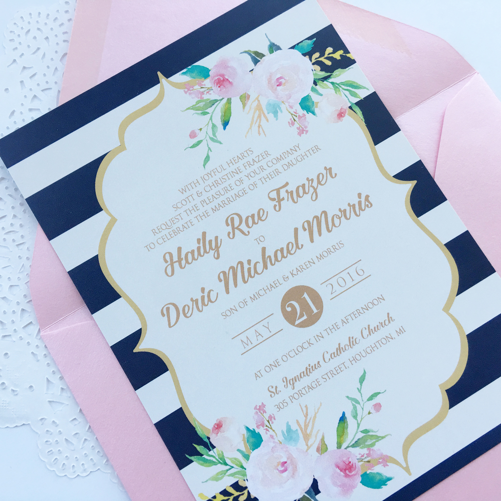 elegant wedding invitations classic wedding invitations formal wedding invitation floral wedding invitation - Navy And Blush Wedding Invitations