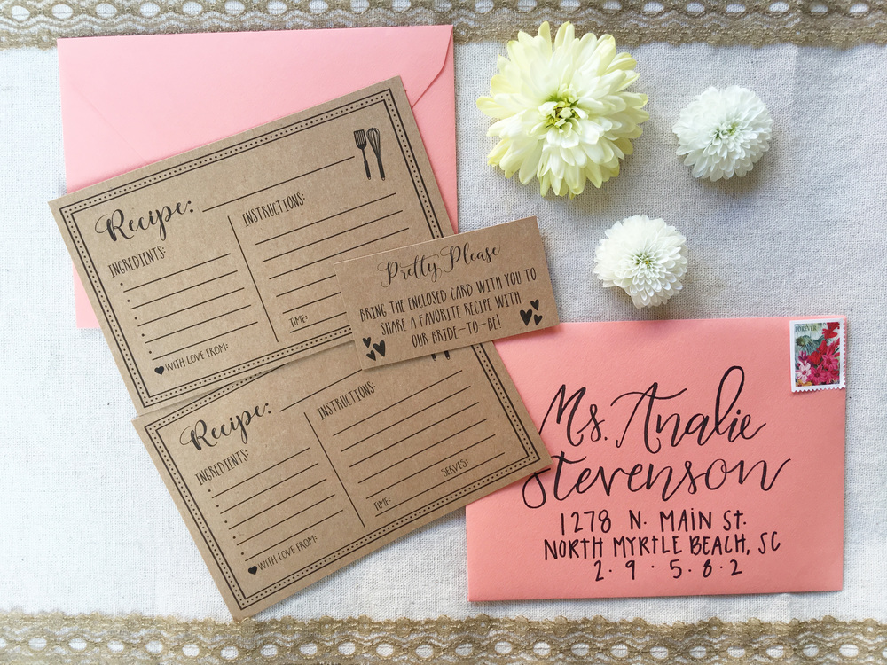 simply include on your invitation something along the lines of please bring the enclosed card with you to share a favorite recipe with our bride to be