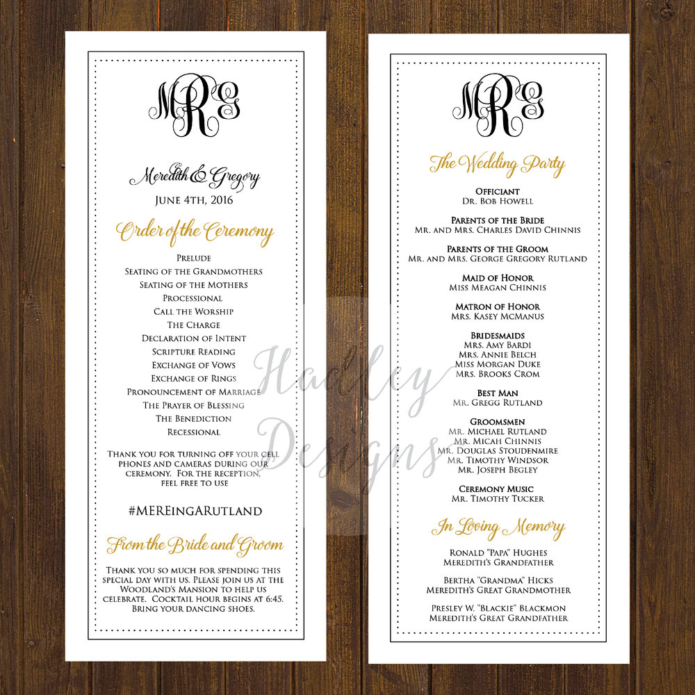 wedding reception program sample pdf