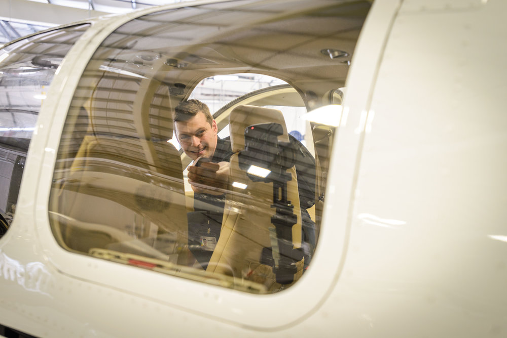 Capturing a 360° shot inside a Beechcraft Baron at Seneca's Aviation Campus in Peterborough