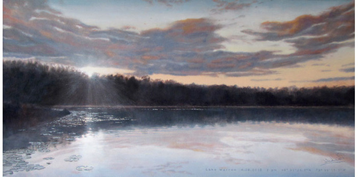 "lake warren <span class=""sizes-inline"">18 x 36 oil on canvas</span><span class=""sold"">•</span>"