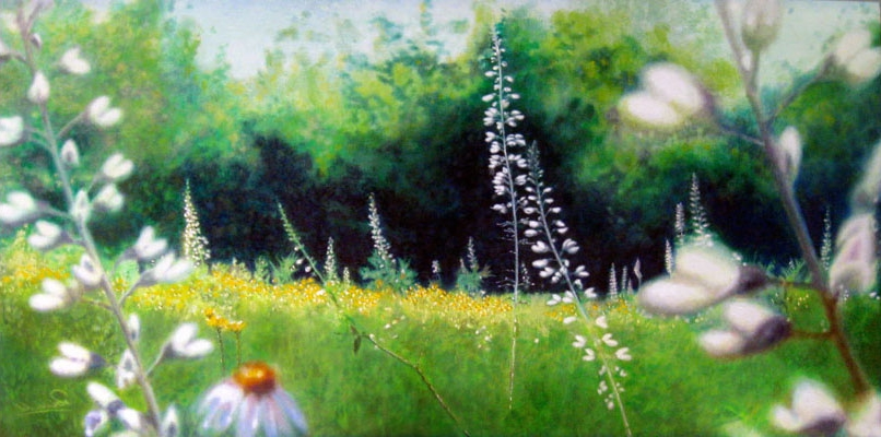 "please don't mow the field <span class=""sizes-inline"">18 x 36 oil on canvas</span><span class=""sold"">•</span>"