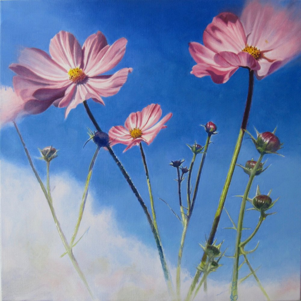 "tickled pink <span class=""sizes-inline"">20 x 20 oil on canvas</span>"