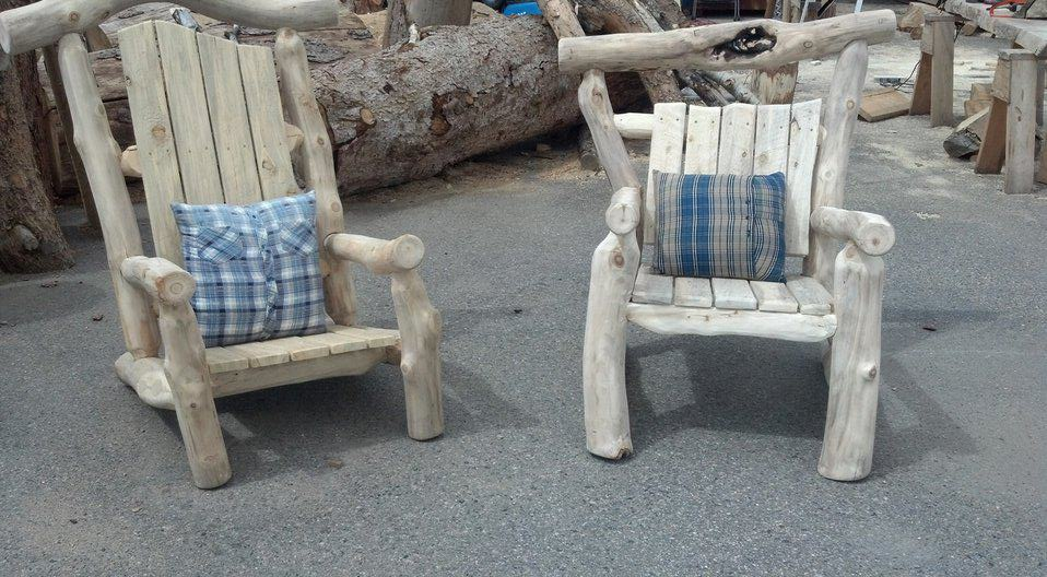Rustic Log Adirondack Chairs