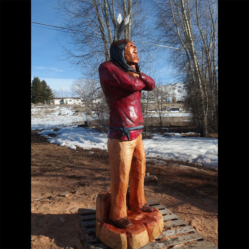 woodZwayz specializes in life-sized character carvings, including cowboys and cigar store-style Indians.