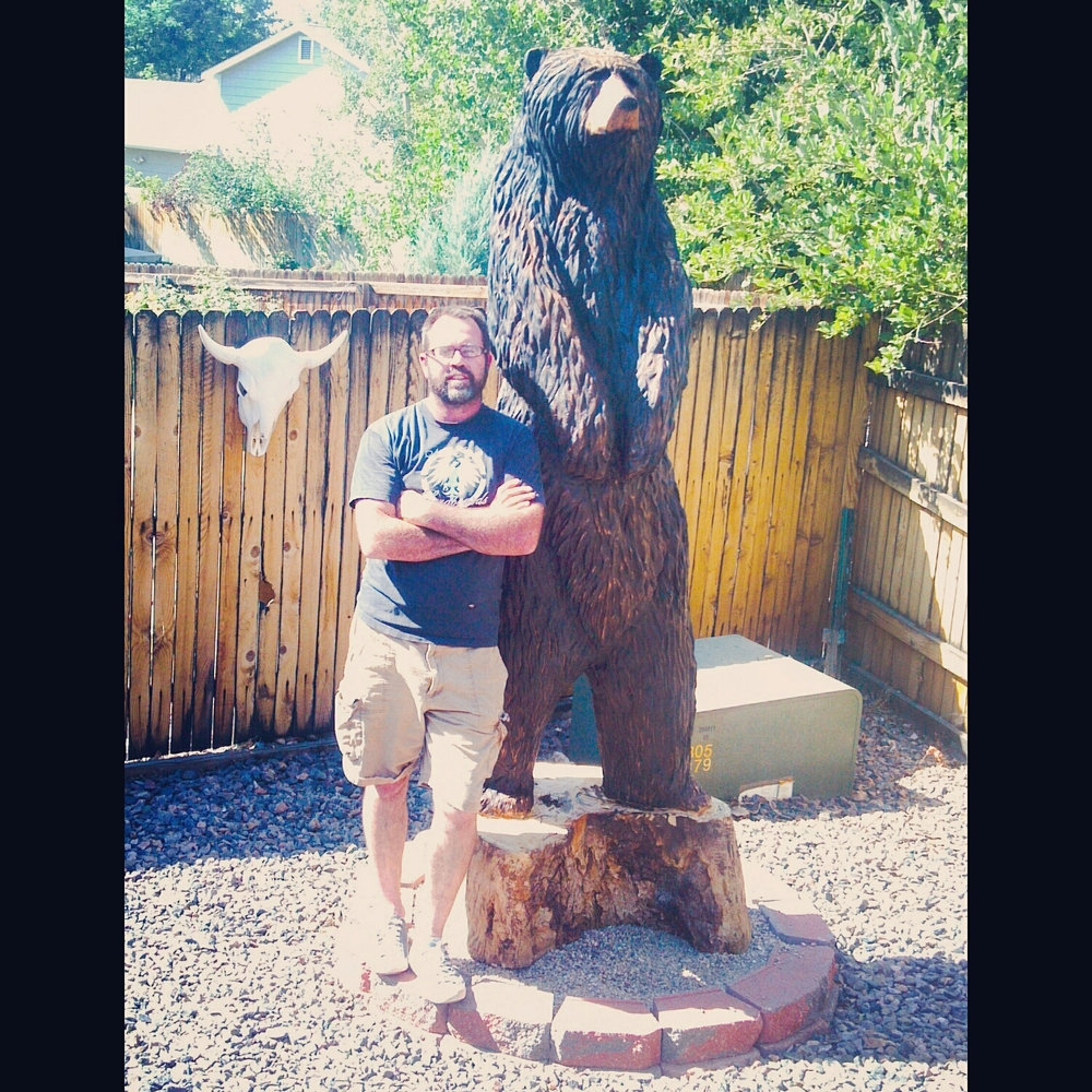 big 9' tall chainsaw carved bear, made in Kremmling, Colorado