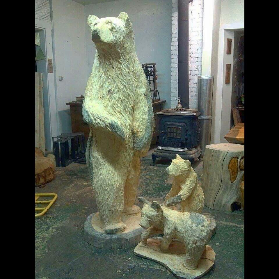 Family of bear carvings
